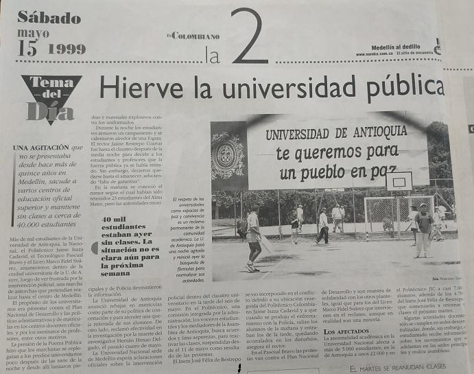 Fotografía tomada de la edición del 15 de mayo de 1999 del periódico El Colombiano.