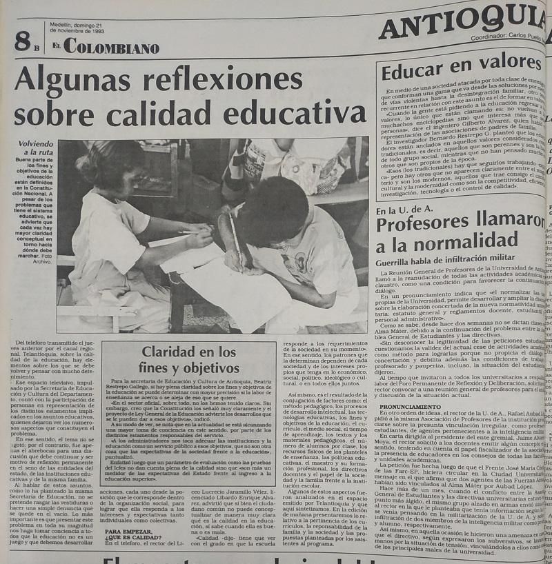 Fotografías tomadas de la edición del 21 de octubre de 1993 del periódico El Colombiano.