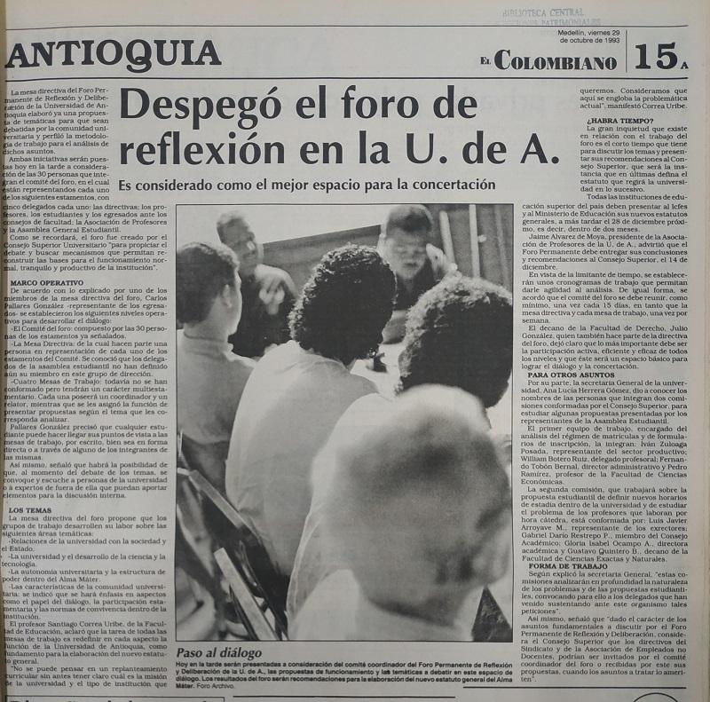 Fotografías tomadas de la edición del 29 de octubre de 1993 del periódico El Colombiano.