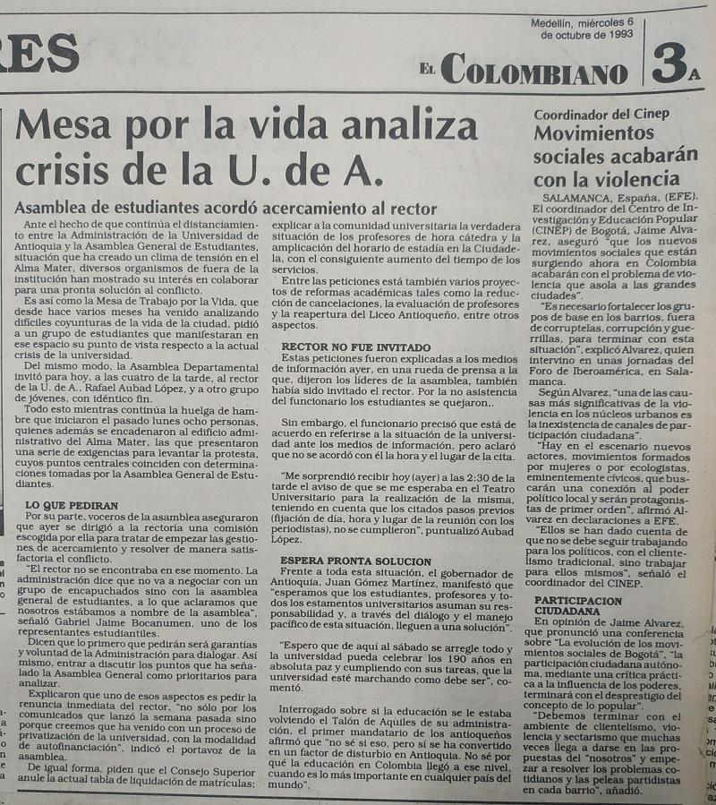 Fotografías tomadas de la edición del 6 de octubre de 1993 del periódico El Colombiano.