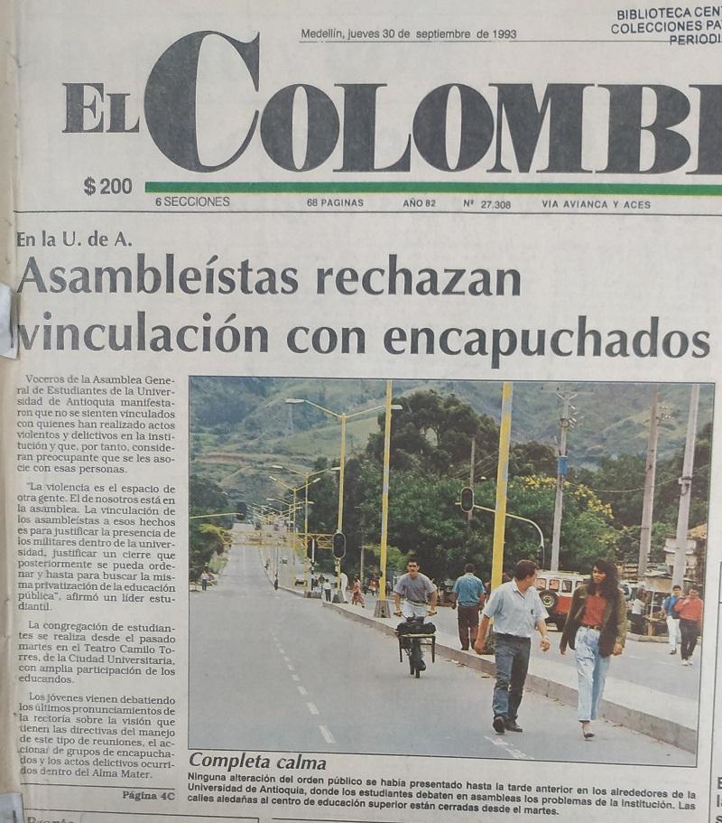 Fotografías tomadas de la edición del 30 de septiembre de 1993 del periódico El Colombiano.