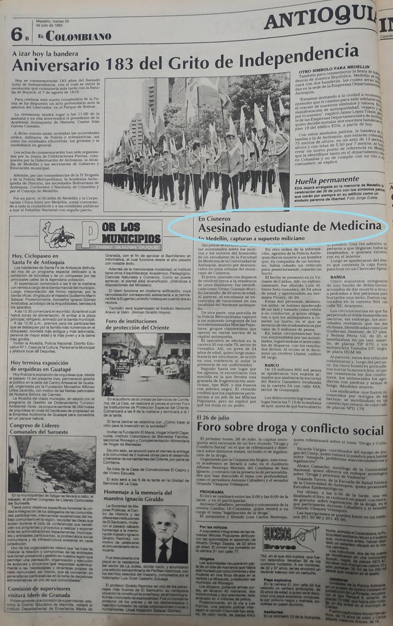Fotografías tomadas de la edición del 20 de julio 1993 del periódico El Colombiano.