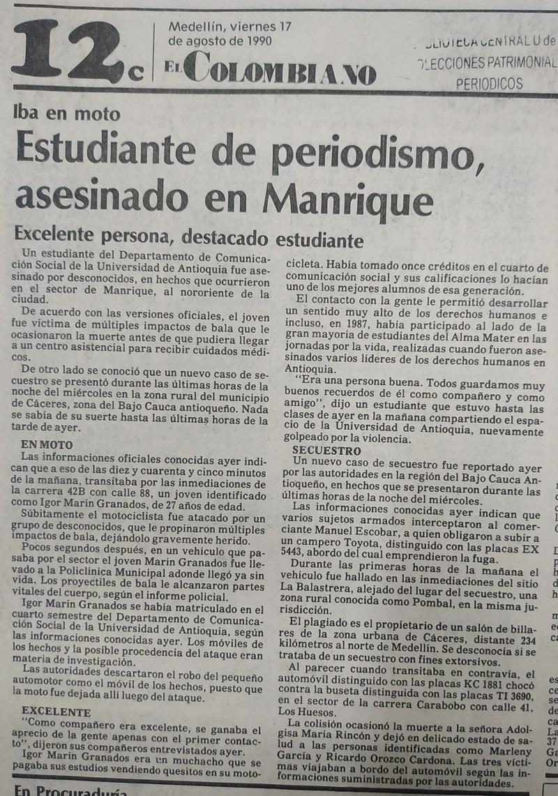 Fotografías tomadas de la edición del 17 de agosto de 1990 del periódico El Colombiano