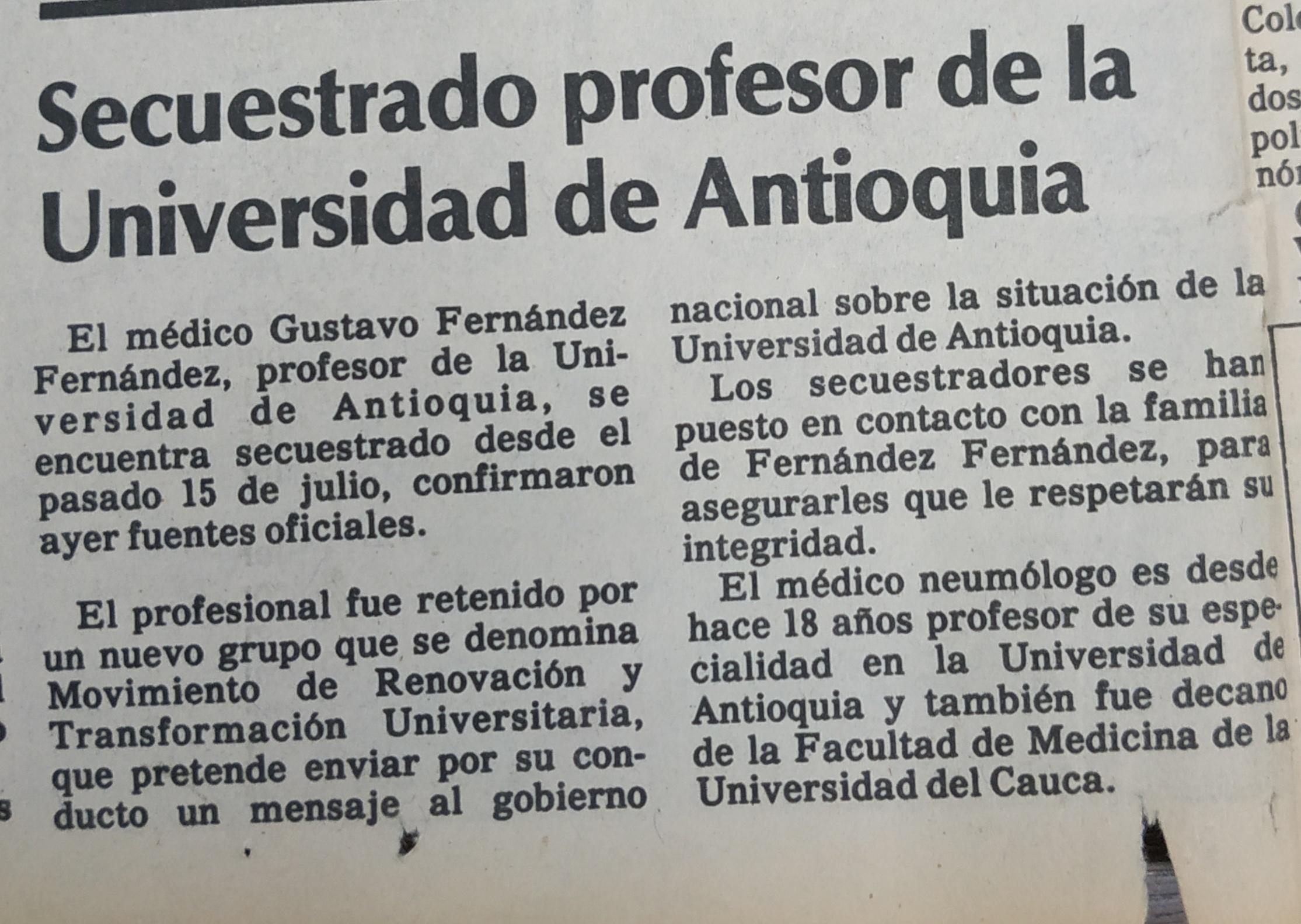 Fotografía tomada de la edición del 22 de julio de 1988 del periódico El Colombiano