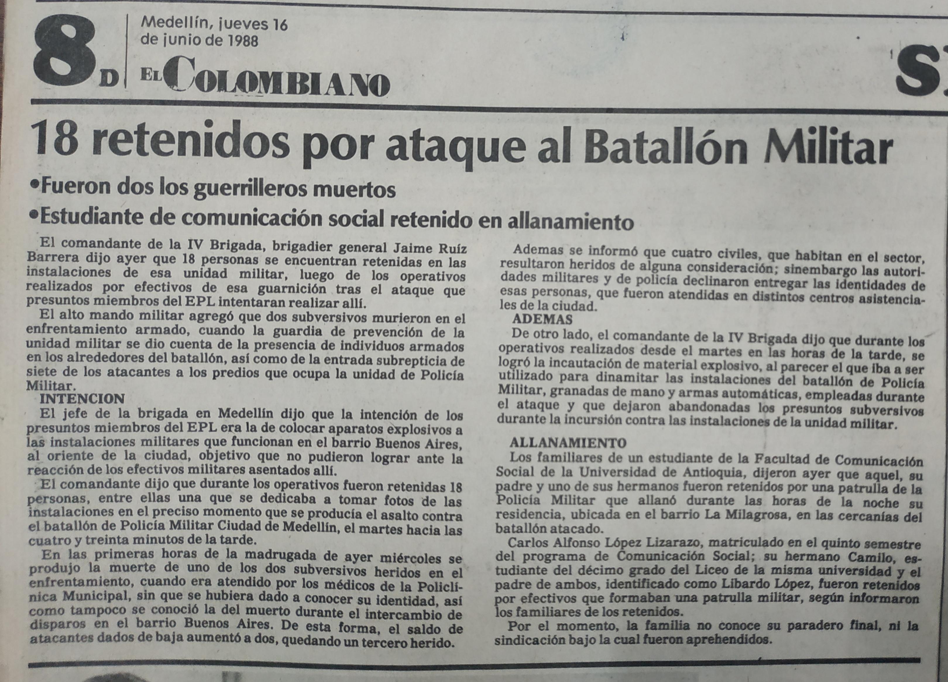 Fotografía tomada de la edición del 16 de junio de 1988 del periódico El Colombiano
