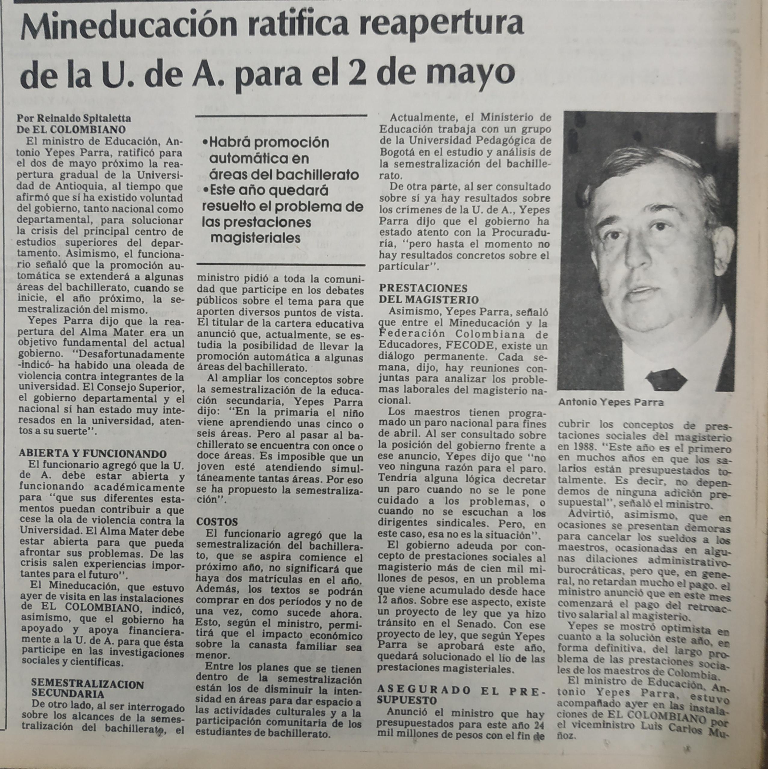 Fotografía tomada de la edición del 17 de abril de 1988 del periódico El Colombiano