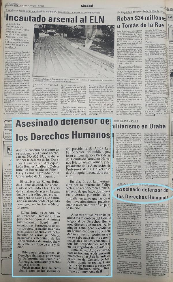 Fotografías tomadas de la edición del 25 de agosto de 1993 del periódico El Colombiano y el periódico El Mundo.