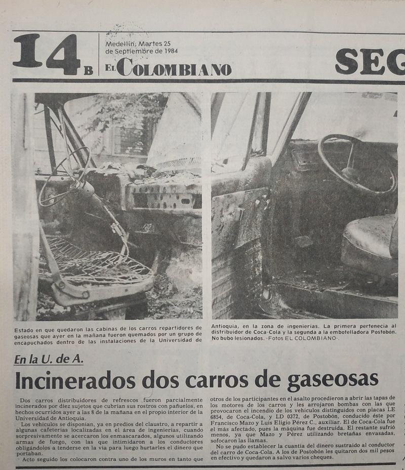 Fotografía tomada de la edición del 24 de septiembre 1984 del periódico El Colombiano.