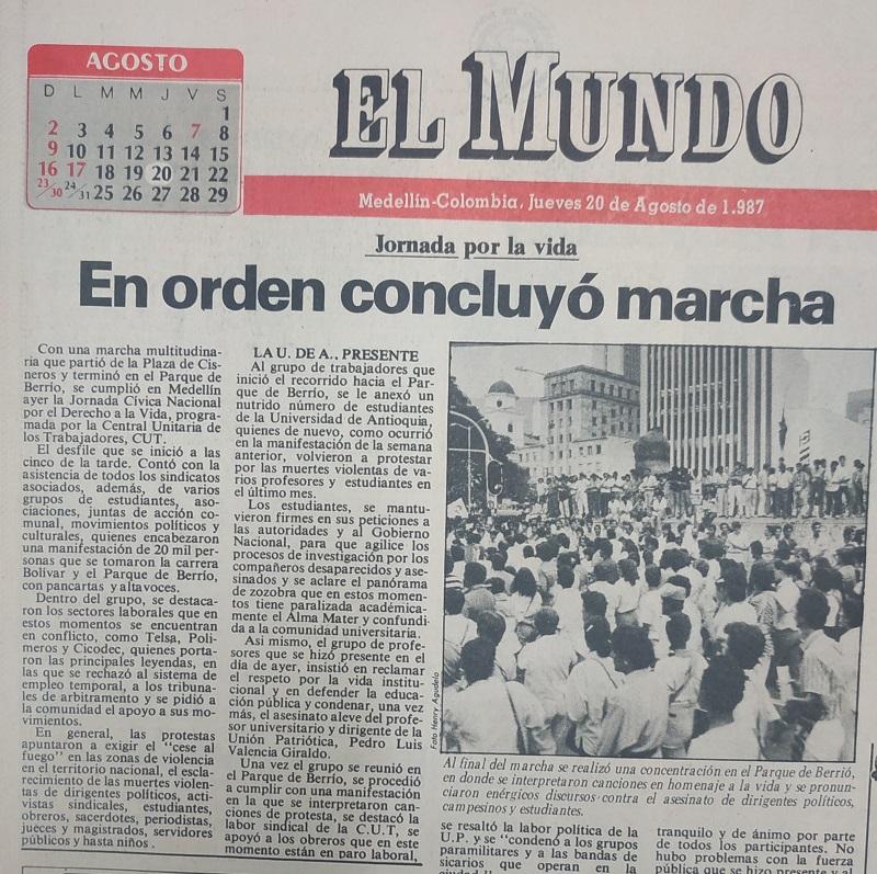 Fotografía tomada de la edición del 20 de agosto de 1987 del periódico El Mundo.