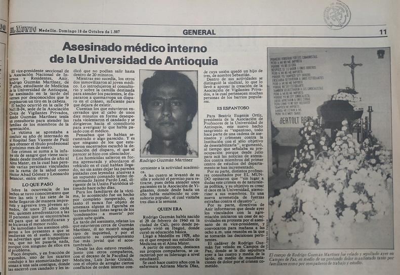 Fotografía tomada de la edición del 18 de octubre 1987 del periódico El Colombiano.