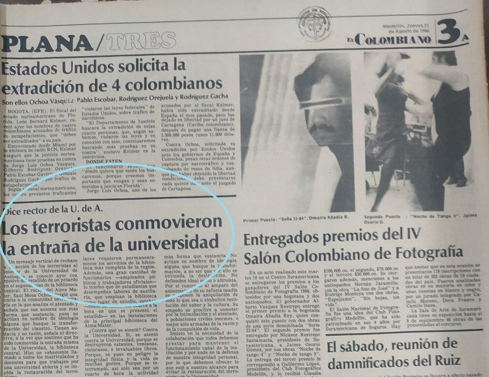 Fotografía tomada de la edición del 21 de agosto de 1986 del periódico El Colombiano.
