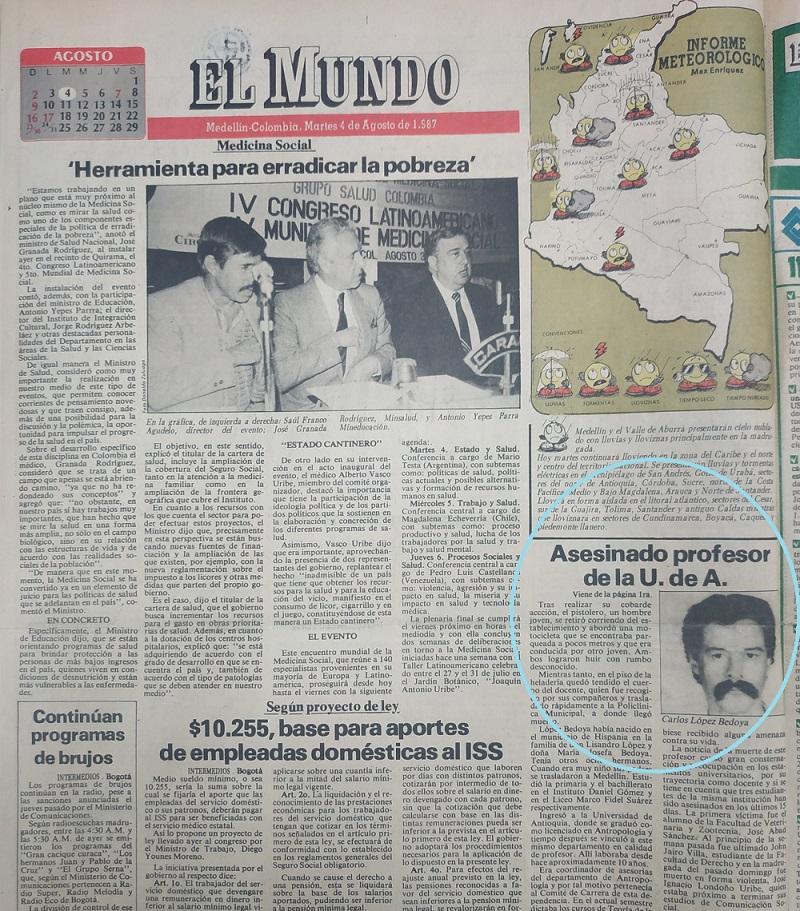 Fotografía tomada de la edición del 4 de agosto de 1987 del periódico El Mundo.