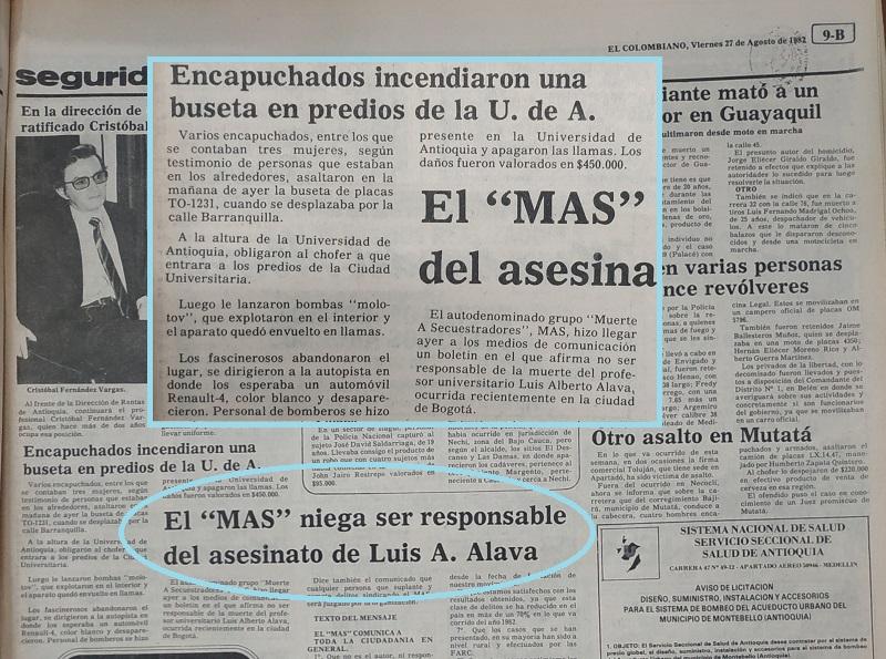 Fotografía tomada de la edición del 27 de agosto de 1982 del periódico El Colombiano.