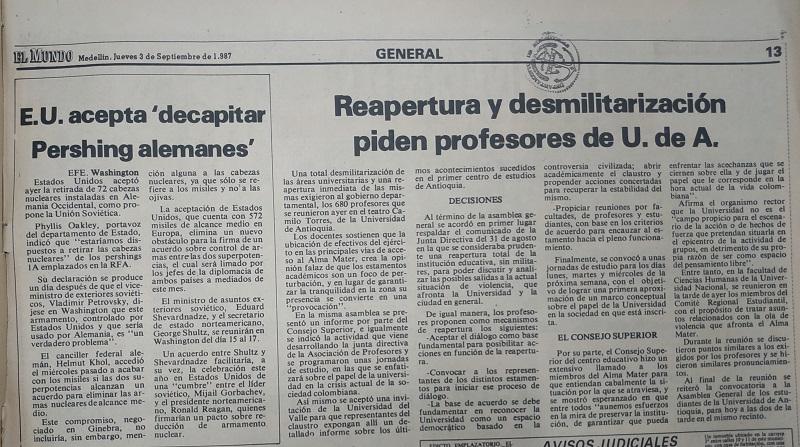 Fotografía tomada de la edición del 3 de septiembre 1987 del periódico El Mundo.