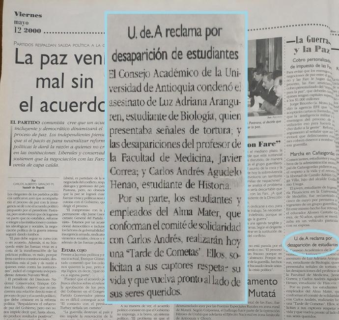 Fotografía tomada de la edición del 12 de mayo del 2000 del periódico El Colombiano.