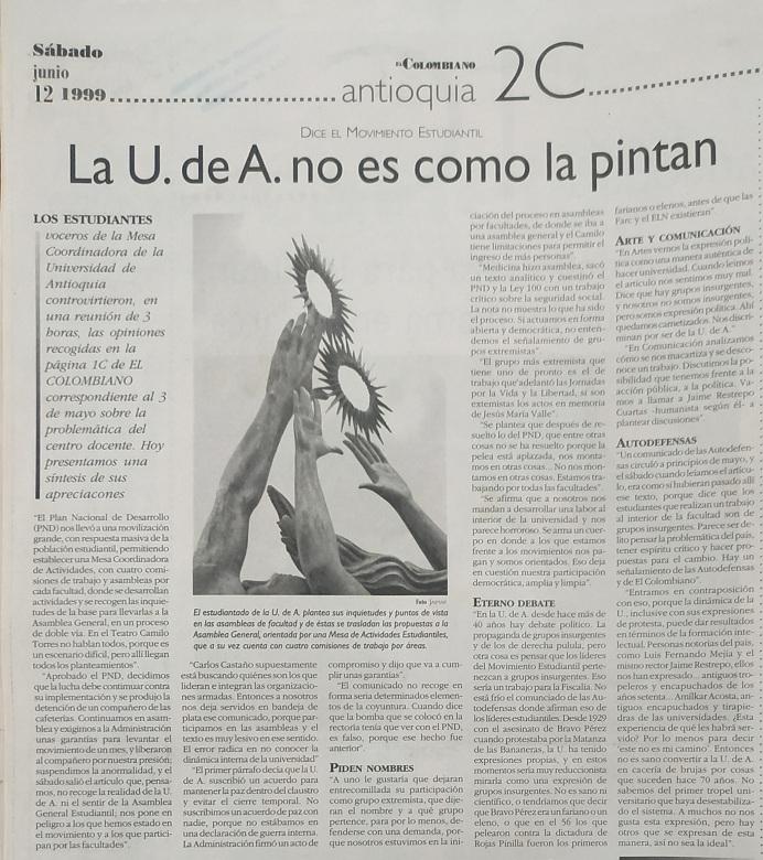 Fotografía tomada de la edición del 12 de junio de 1999 del periódico El Colombiano.