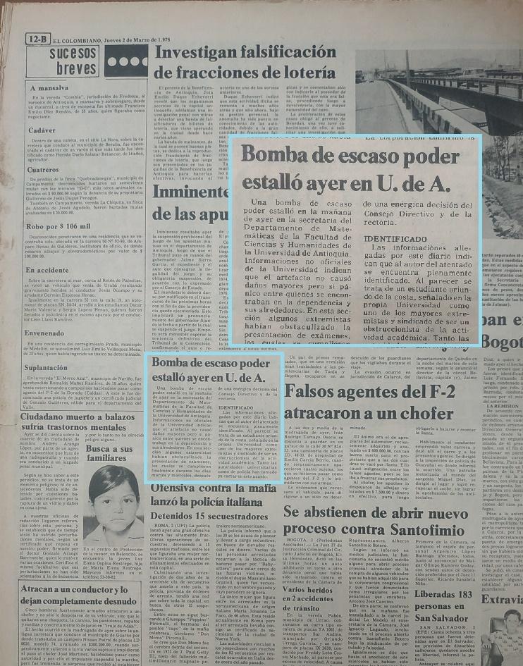 Fotografías tomadas de la edición del 2 de marzo de 1978 del periódico El Colombiano