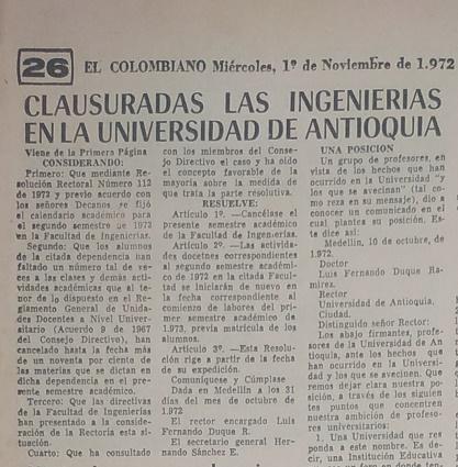 Fotografías tomadas de la edición del primero de noviembre de 1972 del periódico El Colombiano