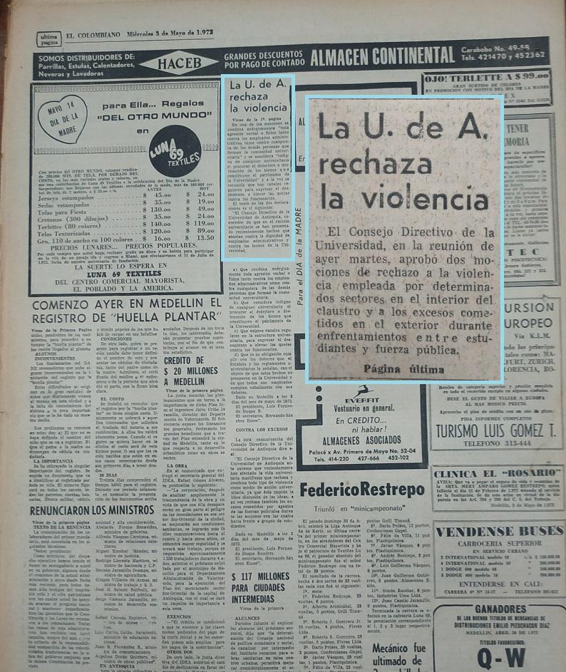 Fotografía tomada de la edición del 3 de mayo de 1972 del periódico El Colombiano