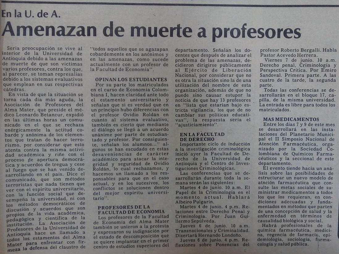 Fotografías tomadas de la edición del 4 de junio 1985 del periódico El Mundo y del periódico El Colombiano