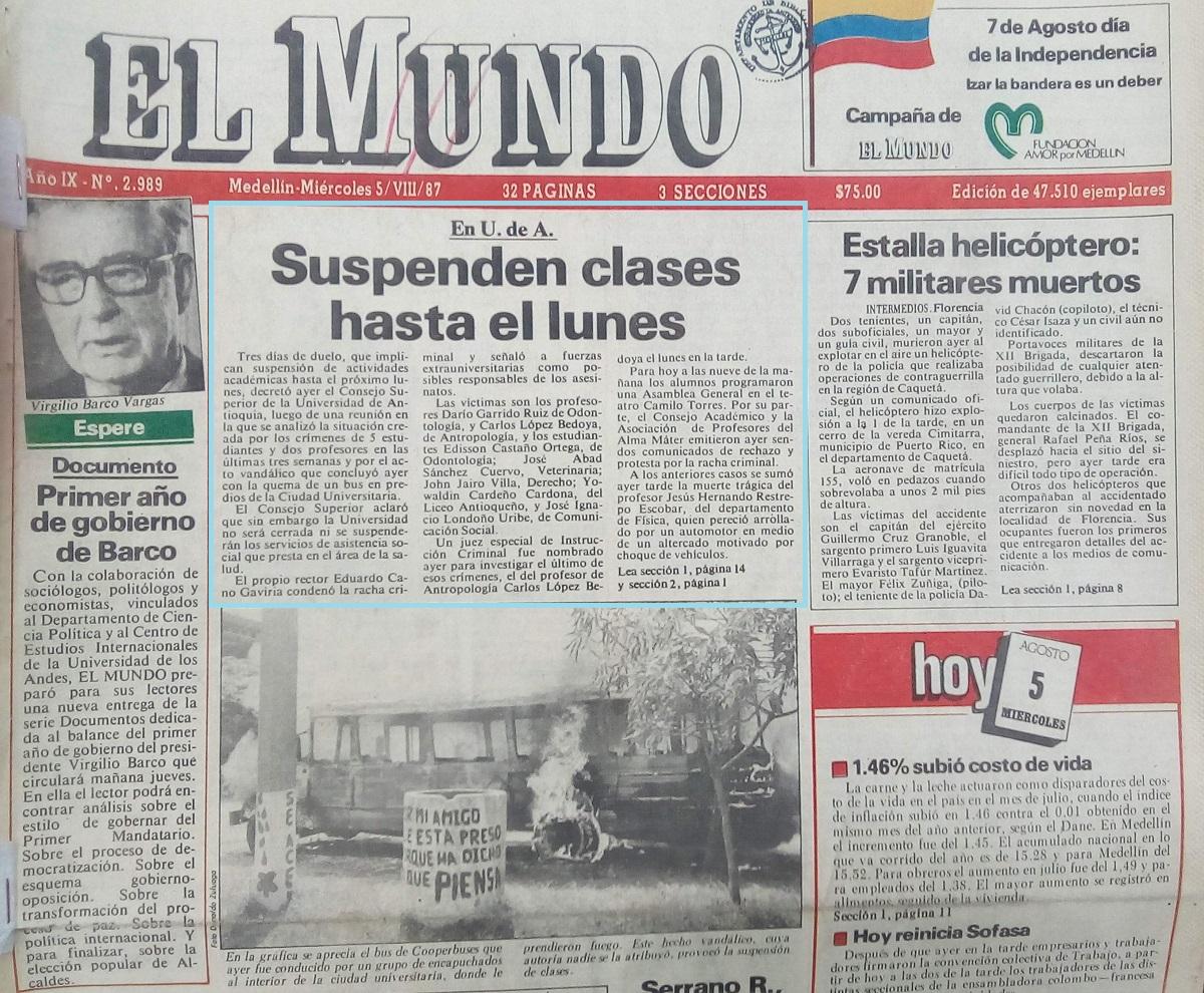 Fotografía tomada de la edición del 5 y 6 de agosto de 1987 del periódico El Mundo