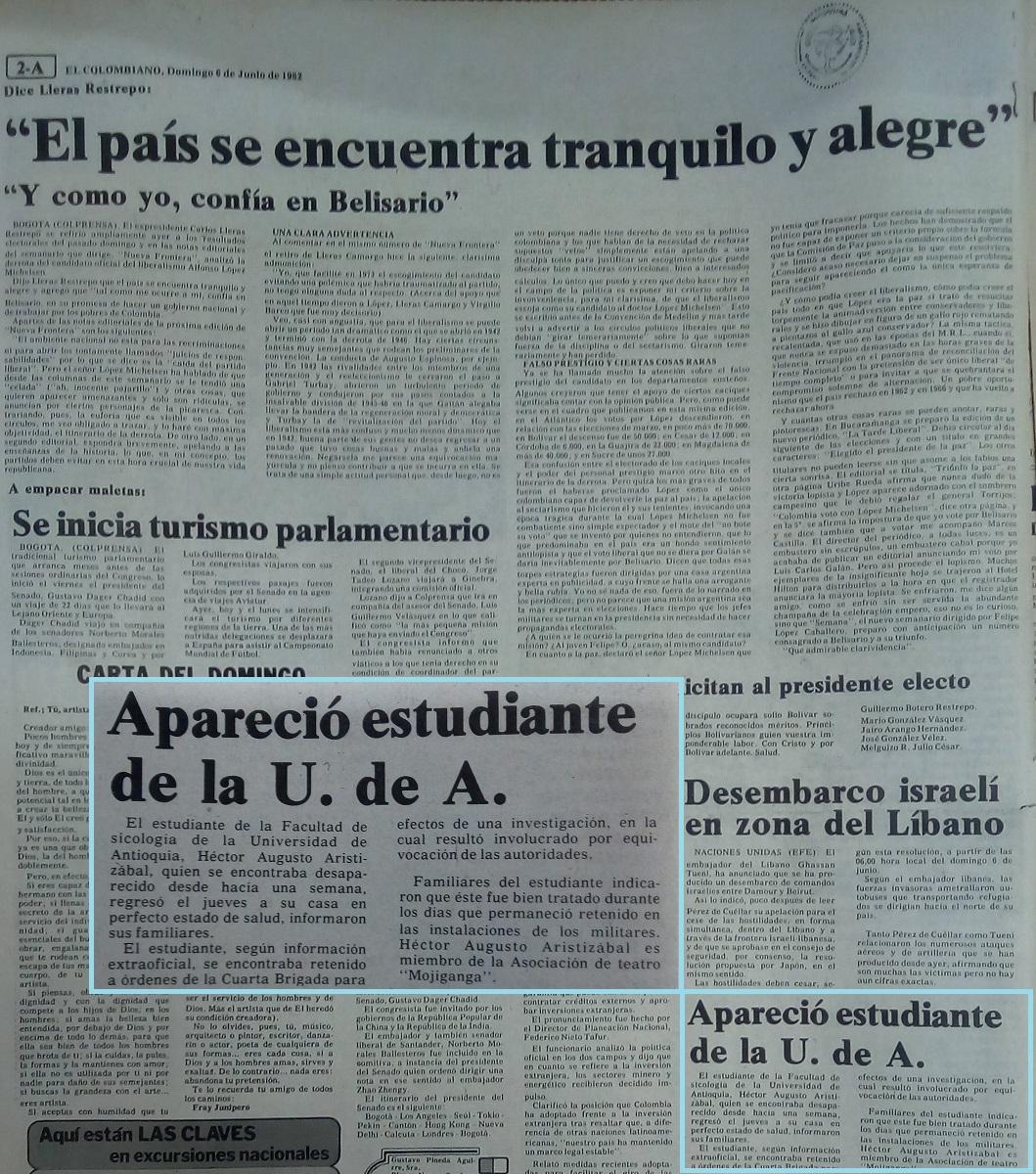 Fotografías tomadas de la edición del 6 de junio de 1982 del periódico El Colombiano