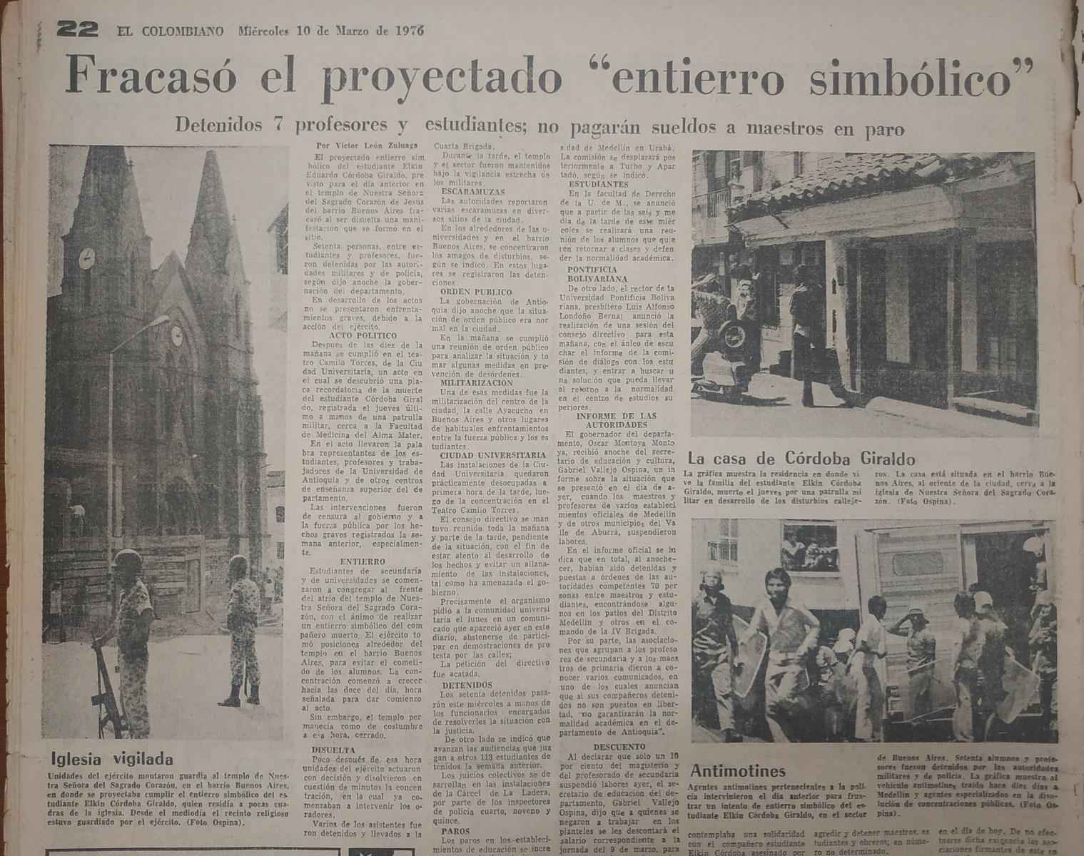 Fotografías tomadas de la edición del 10 de marzo de 1976 del periódico El Colombiano
