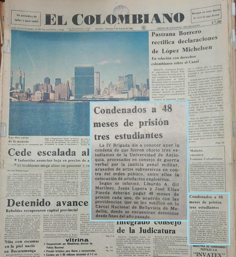 Fotografía tomada de la edición del 11 de enero de 1980 del periódico El Colombiano