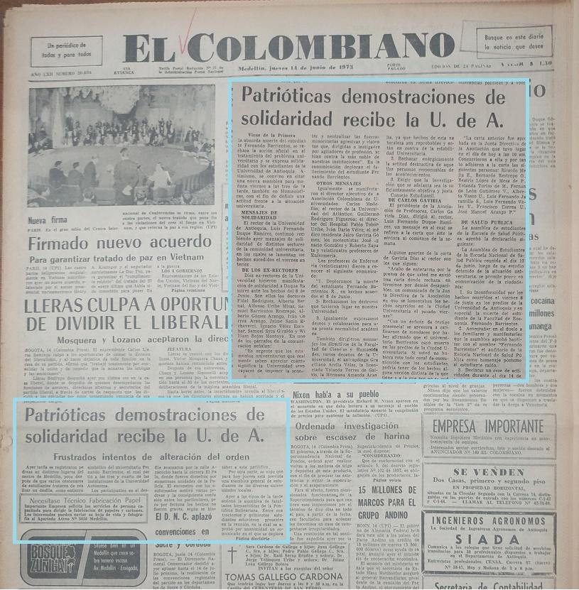 Fotografías tomadas de la edición del 14 de junio de 1973 del periódico El Colombiano
