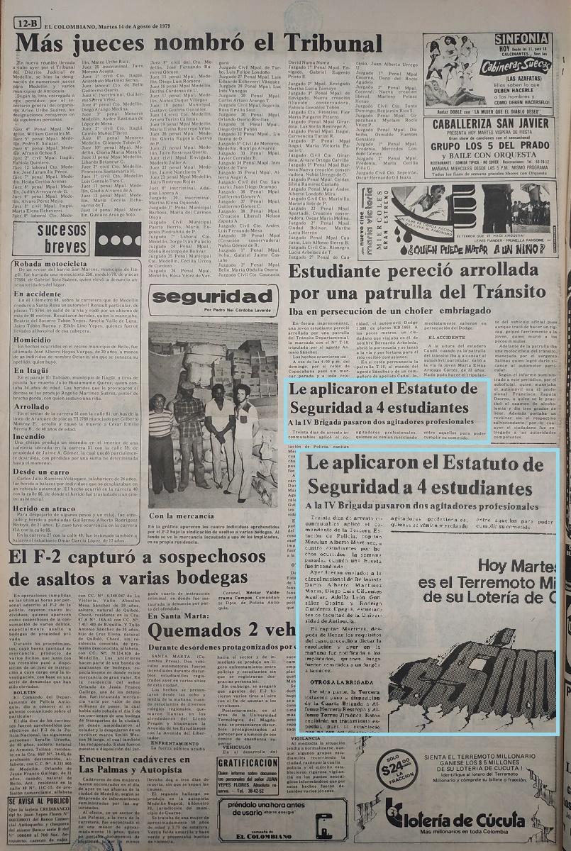 Fotografía tomada de la edición del 14 de agosto de 1979 del periódico El Colombiano