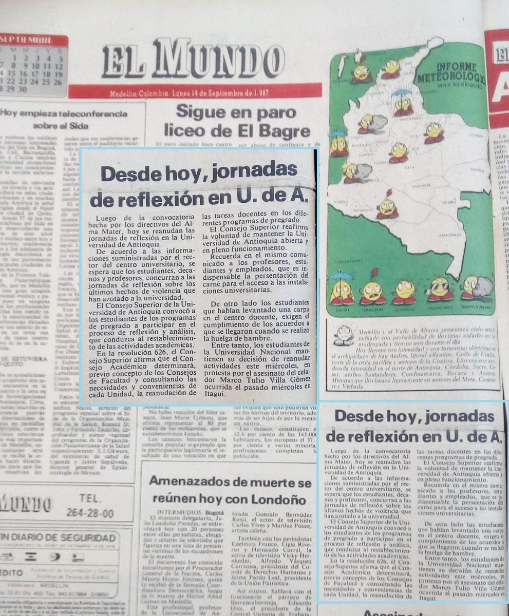 Fotografía tomada de la edición del 14 de septiembre de 1987 del periódico El Mundo