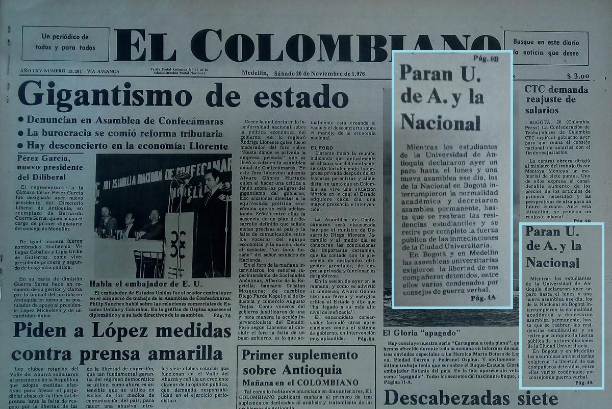 Fotografía tomada de la edición del 20 de noviembre de 1976 del periódico El Colombiano