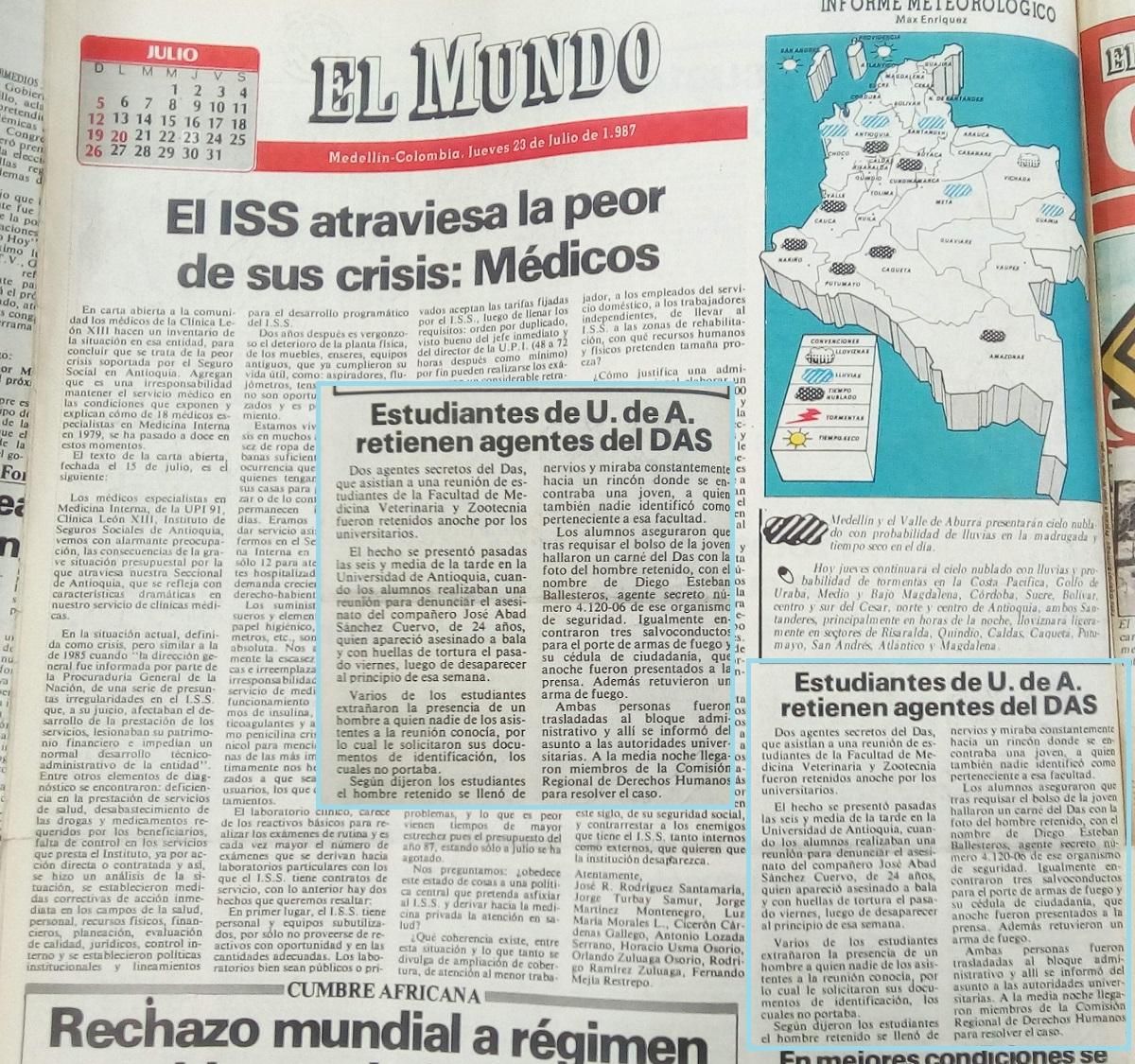 Fotografía tomada de la edición del 23 de julio de 1987 del periódico El Mundo
