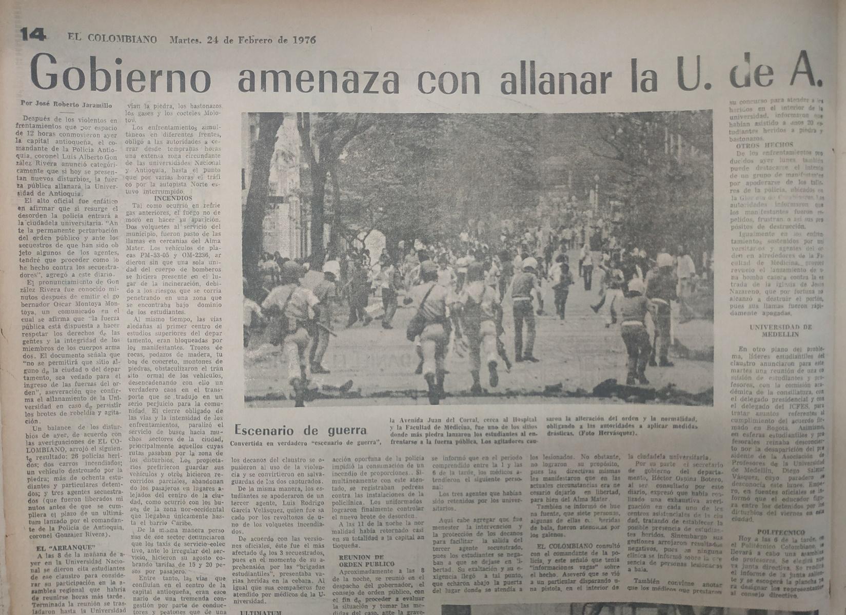 Fotografías tomadas de la edición del 24 de febrero de 1976 del periódico El Colombiano