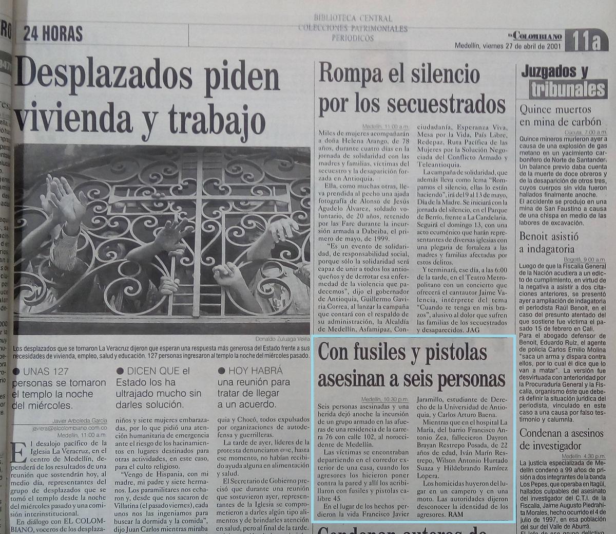 Fotografía tomada de la edición del 27 de abril del 2001 del periódico El Colombiano