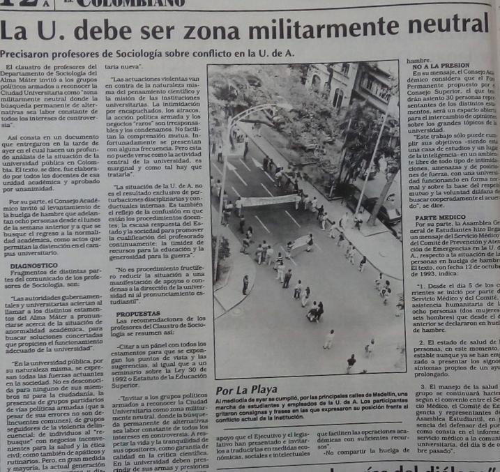 Fotografía tomada de la edición del 14 de octubre de 1993 del periódico El Colombiano