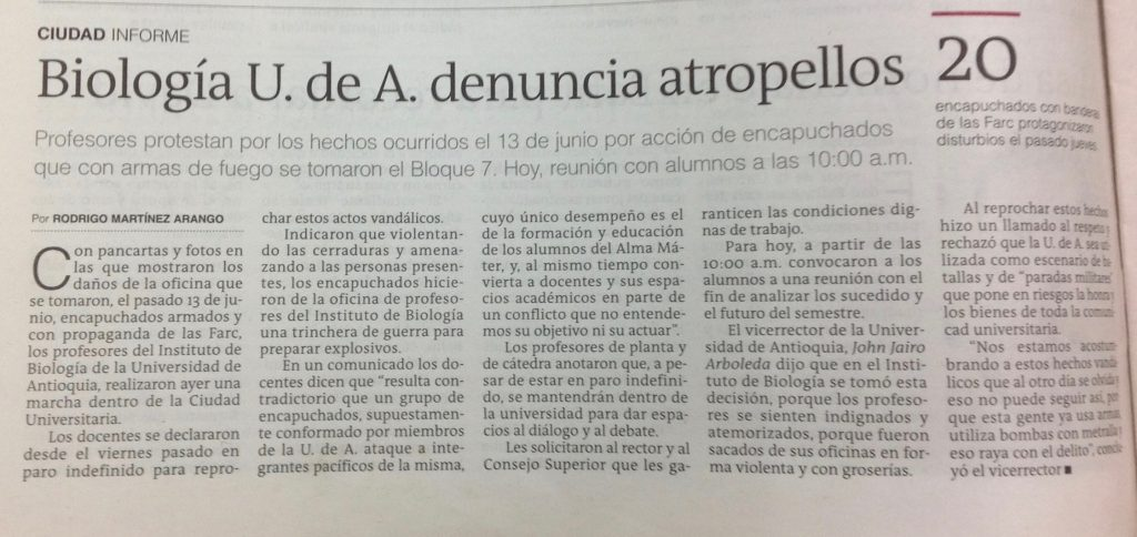 El Colombiano, 18 de junio de 2013.