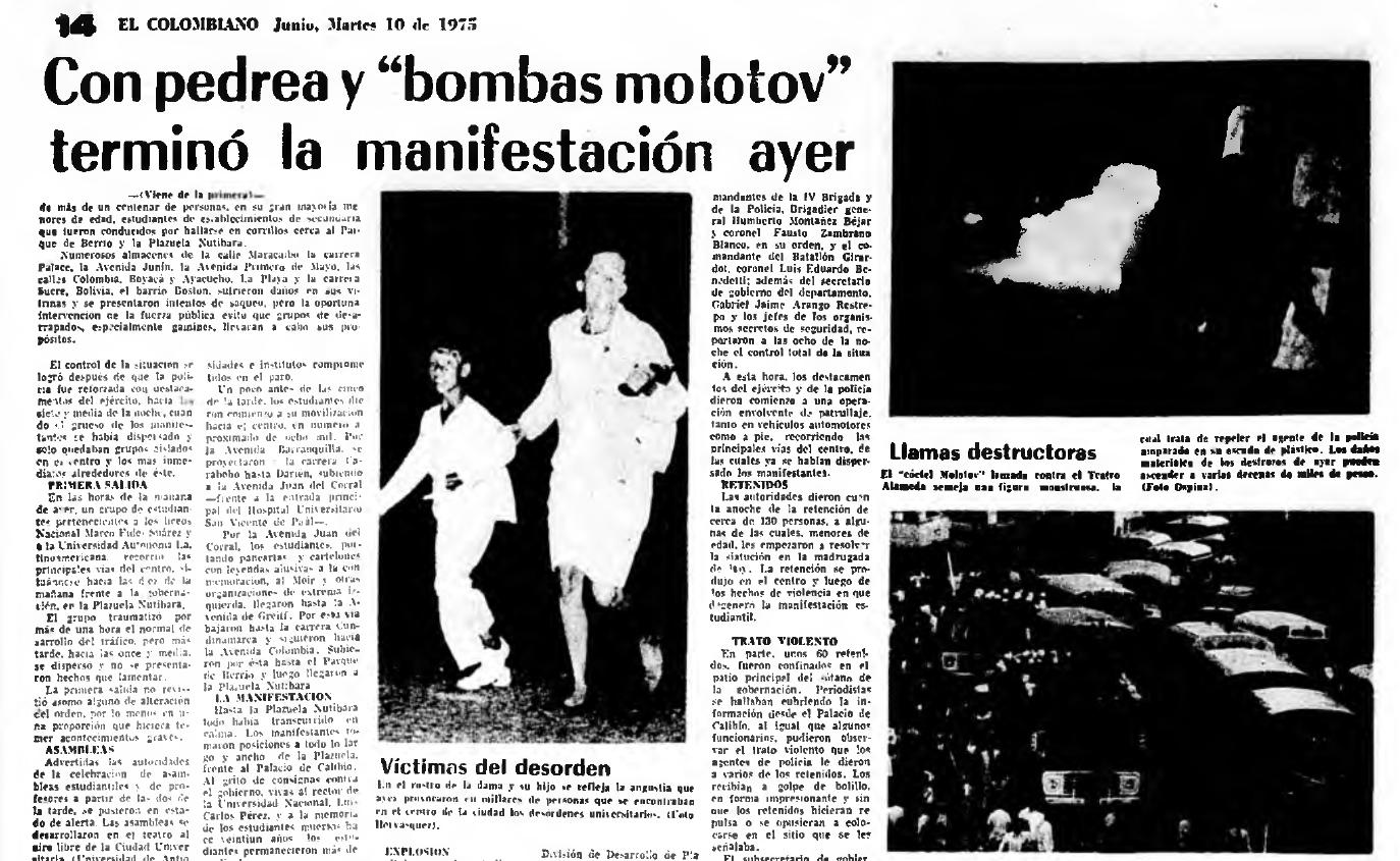 Fotografía tomada de la edición del 10 de junio de 1975 del periódico El Colombiano.