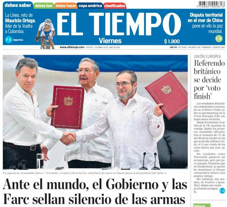 Portada del periódico El Tiempo