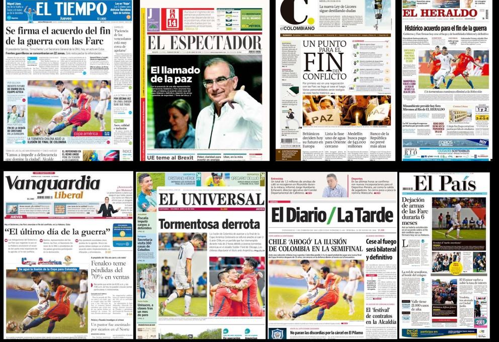 Así titularon los periódicos colombianos