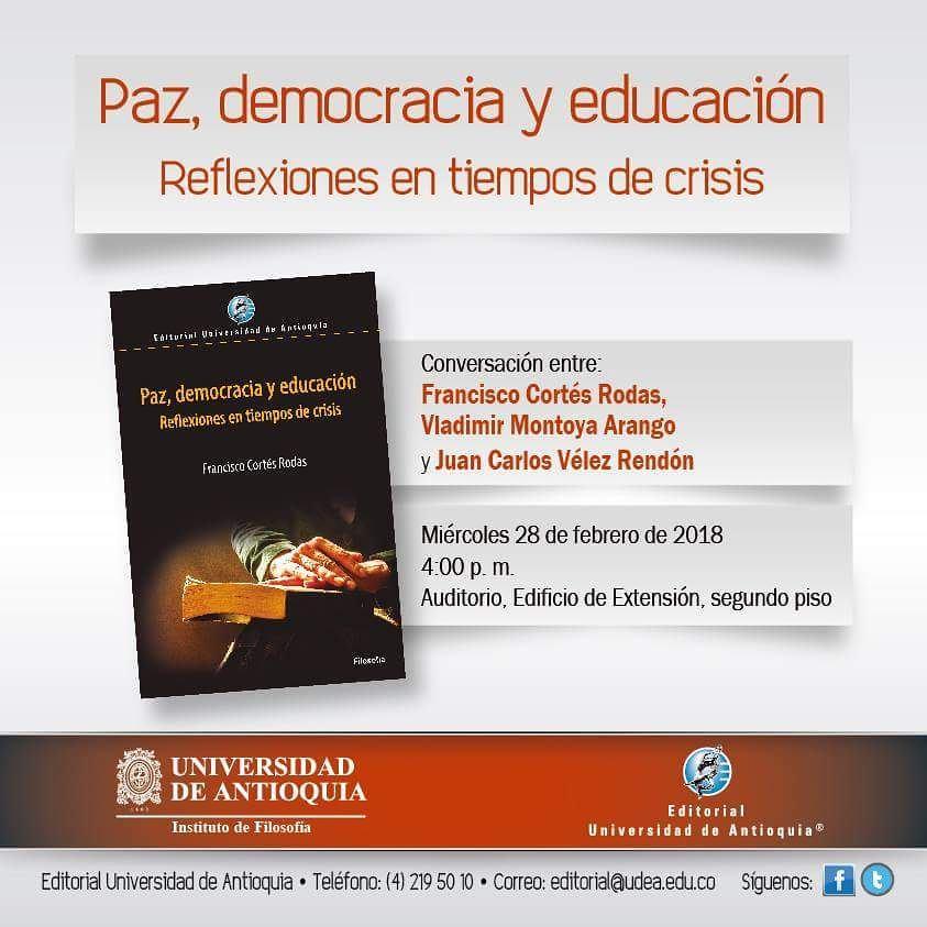 Compartimos la invitacin a la presentacin del libro Paz democraciahellip