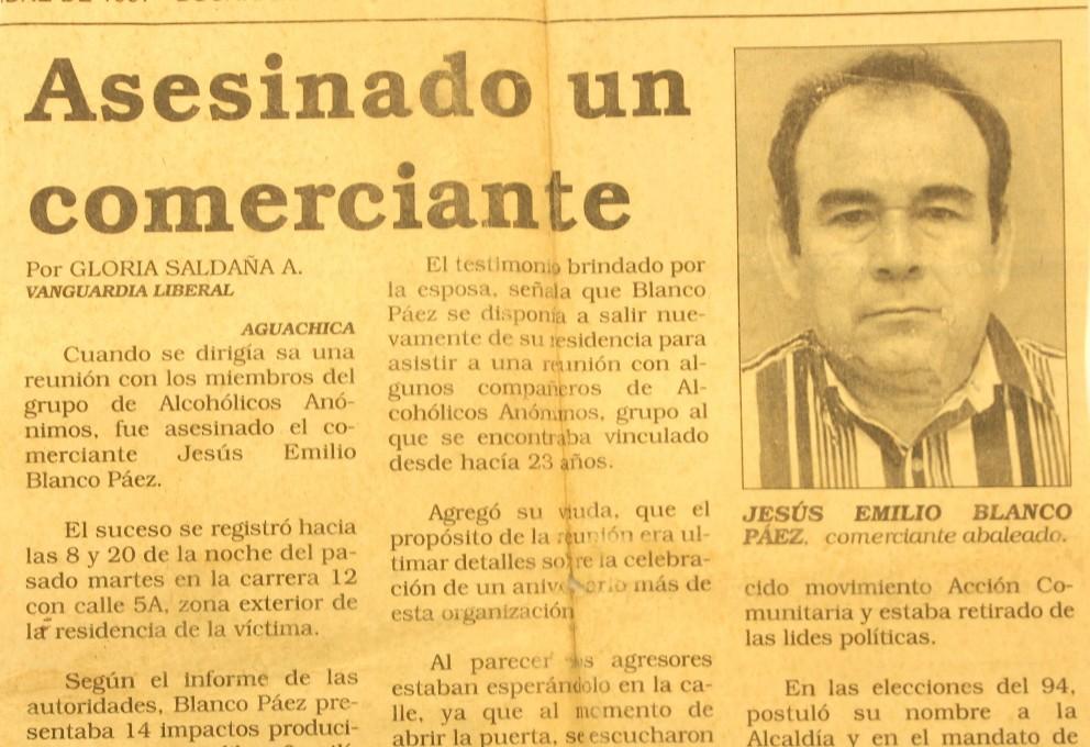 Jesús Emilio Blanco: Víctima del exterminio de un proyecto político en Aguachica